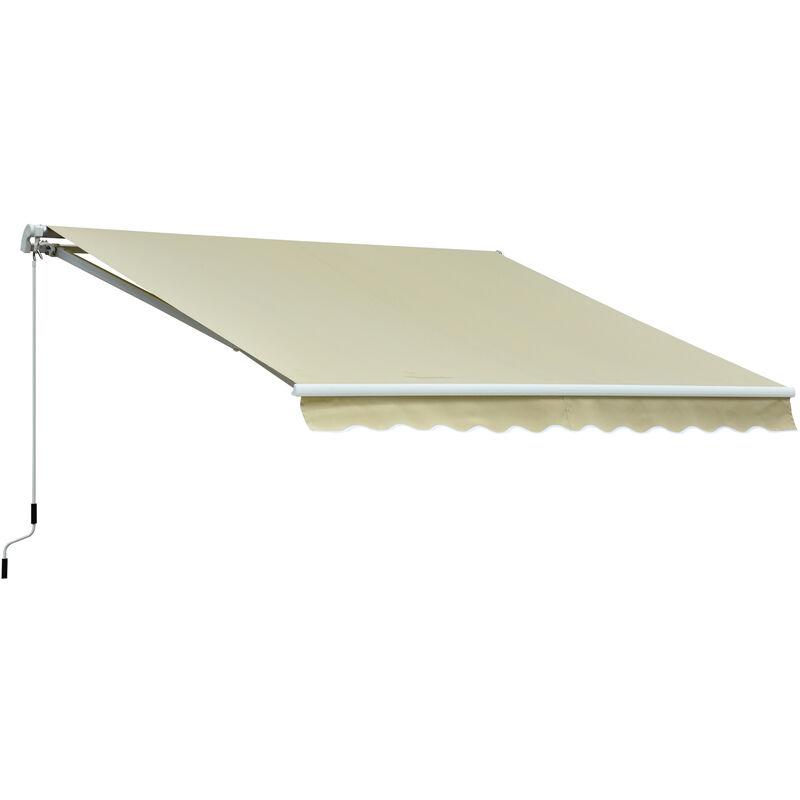 Outsunny Store banne manuel rétractable alu. polyester imperméabilisé haute densité 3,5L