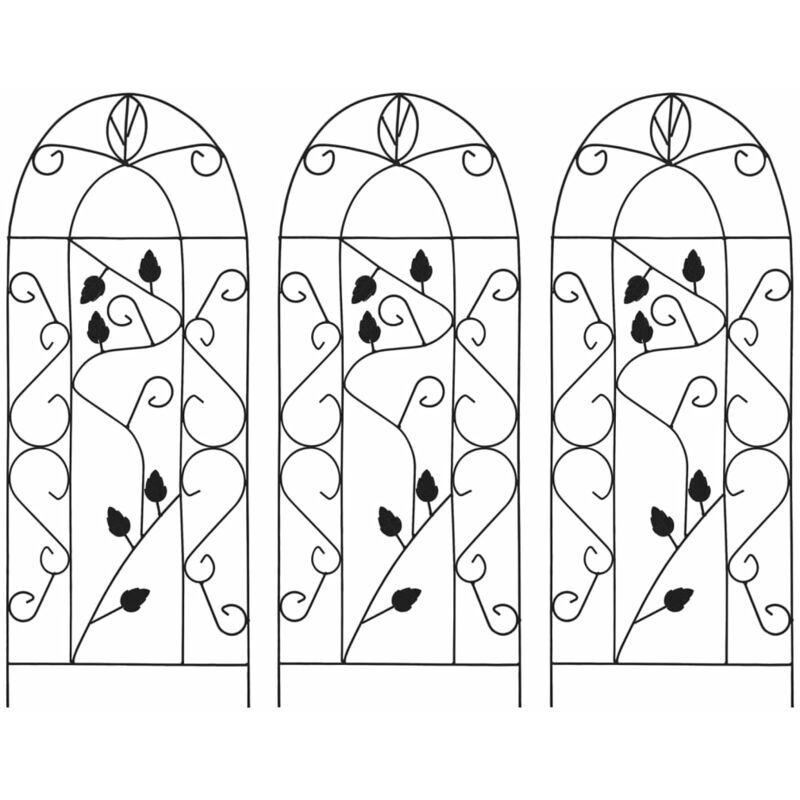 Youthup - Supports pour plantes grimpantes 3 pcs Noir 40x100 cm Fer