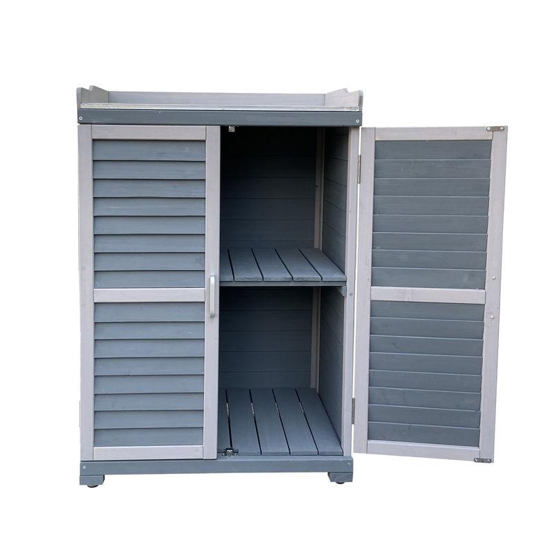 WILTEC Table de jardin avec élément bas et plan de travail, gris 67x46.5x99.7cm