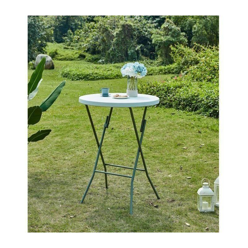 Table mange debout pliable - O 80 x 110 cm - Revetement en poudre en tubes