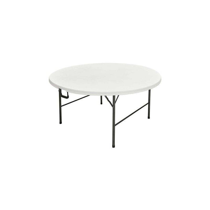 Interouge - Table pliante de réception plateau rond pliable dia. 160cm Blanc