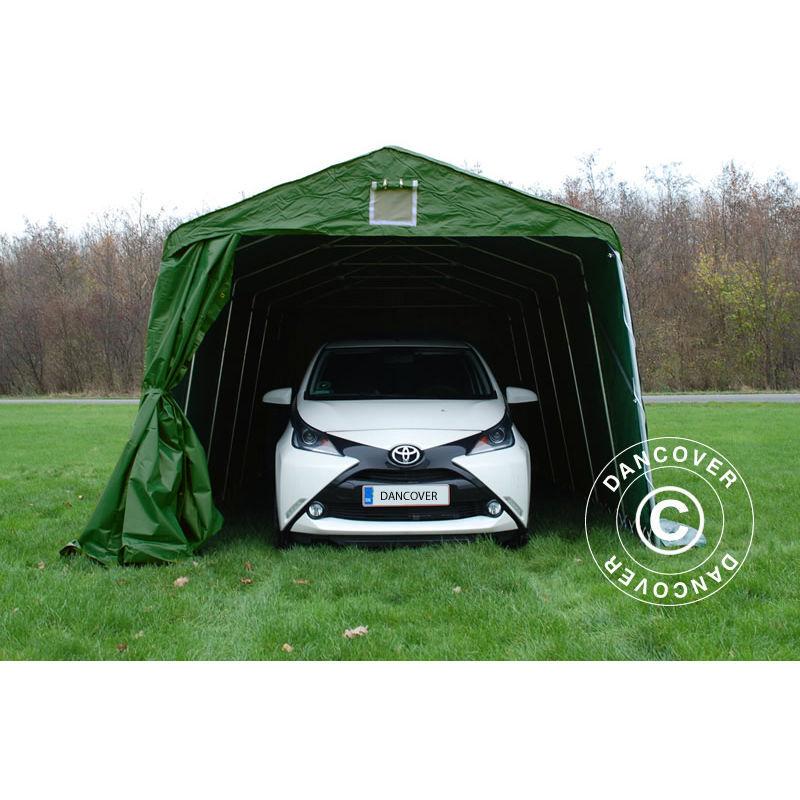 DANCOVER Tente Abri Voiture Garage PRO 3,3x6x2,4m PVC, Vert