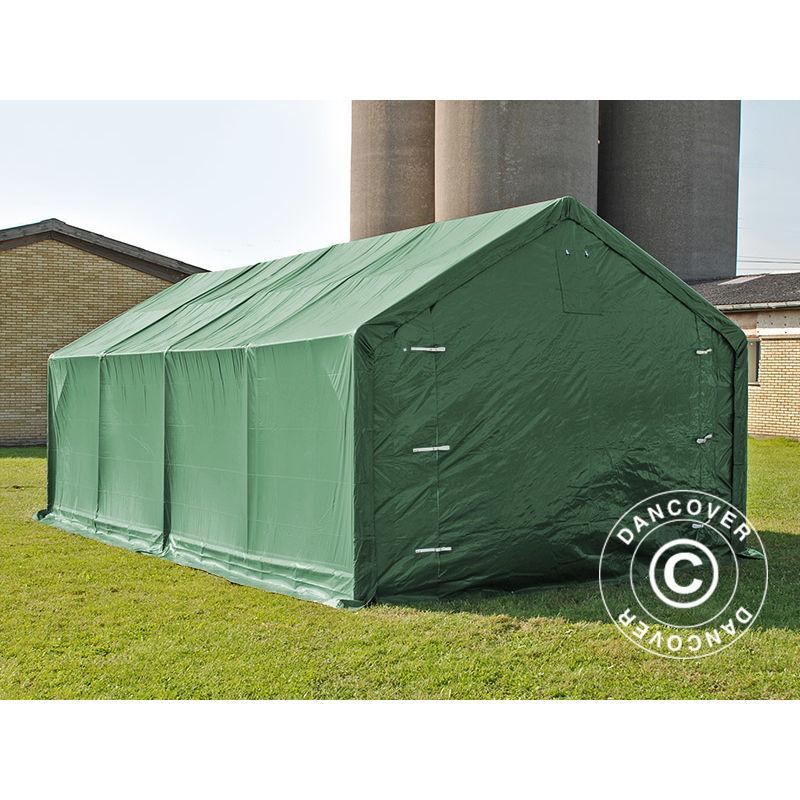 DANCOVER Tente de Stockage Tente Abri PRO 4x8x2,5x3,6m, PVC, Vert