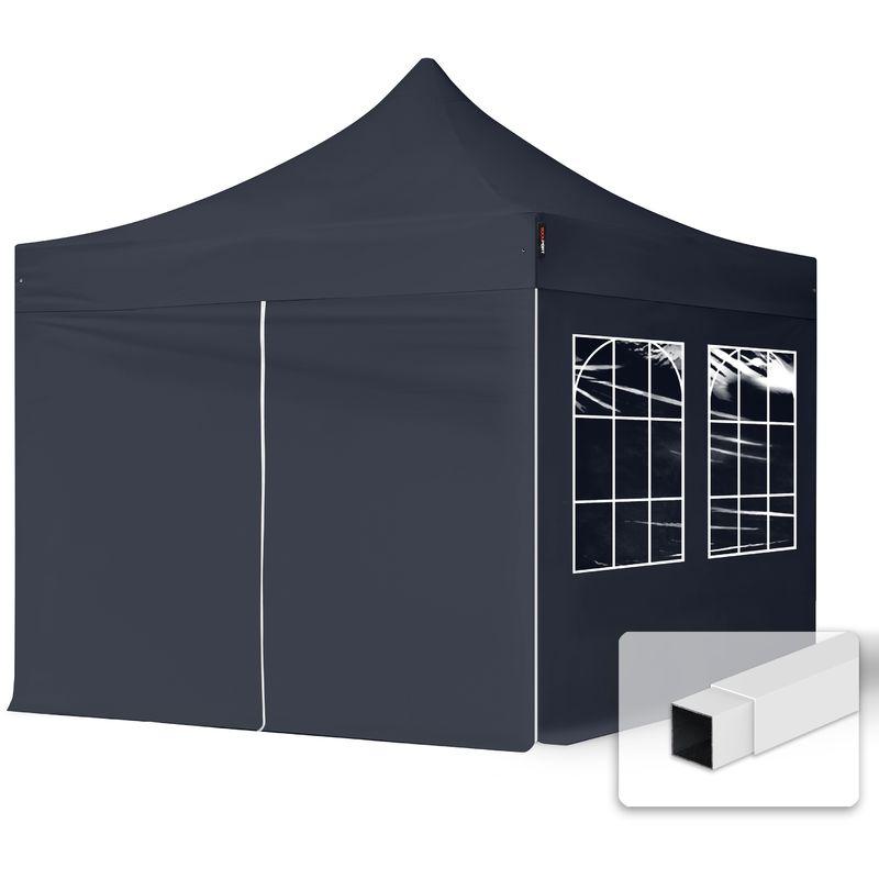 INTENT24.FR Tente Pliante 3x3 m - 4 côtés Acier Barnum Chapiteau Pliant Tonnelle Stand