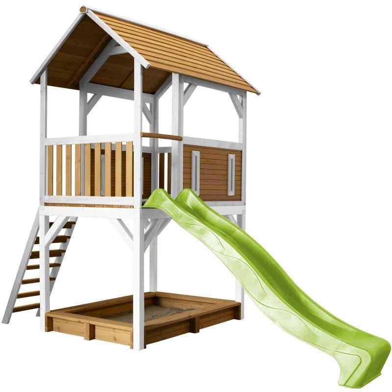 AXI Pumba Maison Enfant avec Bac à Sable & Toboggan Vert clair   Aire de Jeux