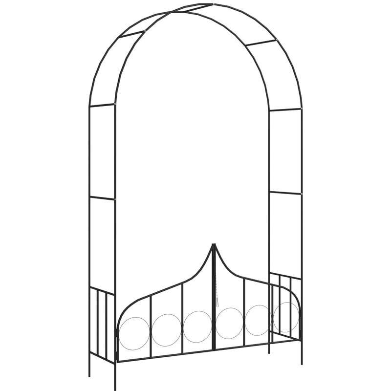 Youthup - Voûte de jardin avec portail Noir 138x40x238 cm Fer