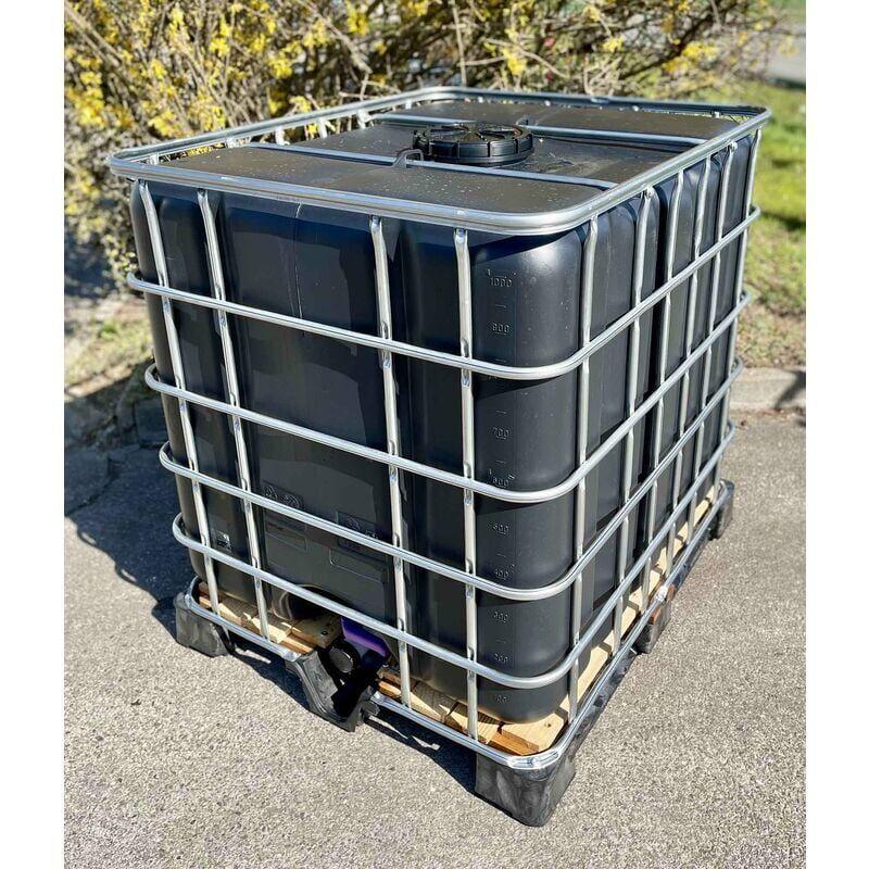 NEGOMIX Cuve citerne noire palette plastique 1000 Litres récupération eau pluie