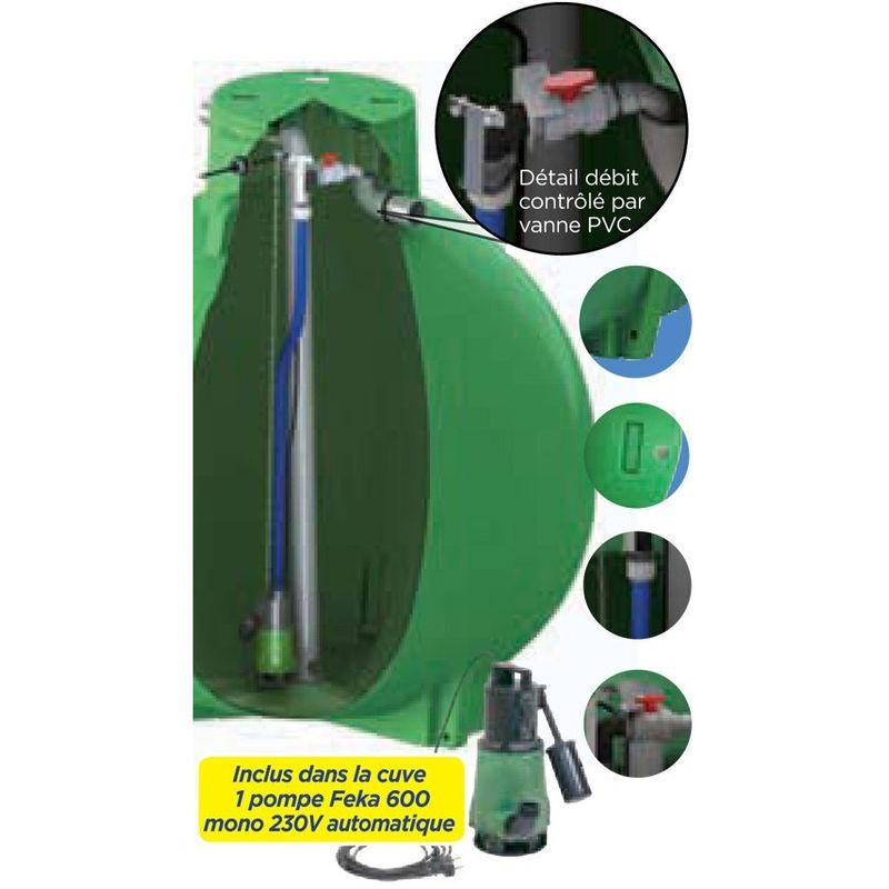 PLASTEAU Ecoregul cuve de regulation d'eau de pluie avec pompe, sortie haute - 6000 L