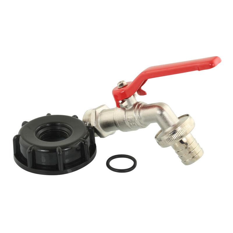 FITTMCSAM Raccord robinet en laiton chromé avec sortie cannelé pour cuve IBC 3/4' - 20x27