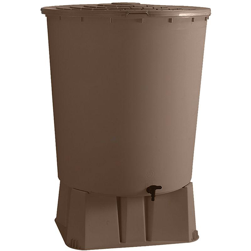 BELLIJARDIN Récupérateur d'eau de pluie rond + Socle taupe 500 L + Kit raccord chéneau