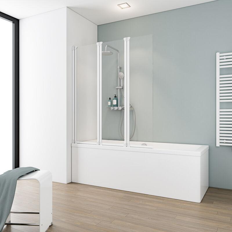 SCHULTE Pare-baignoire rabattable 124 x 130 cm, paroi de baignoire 3 volets, écran de