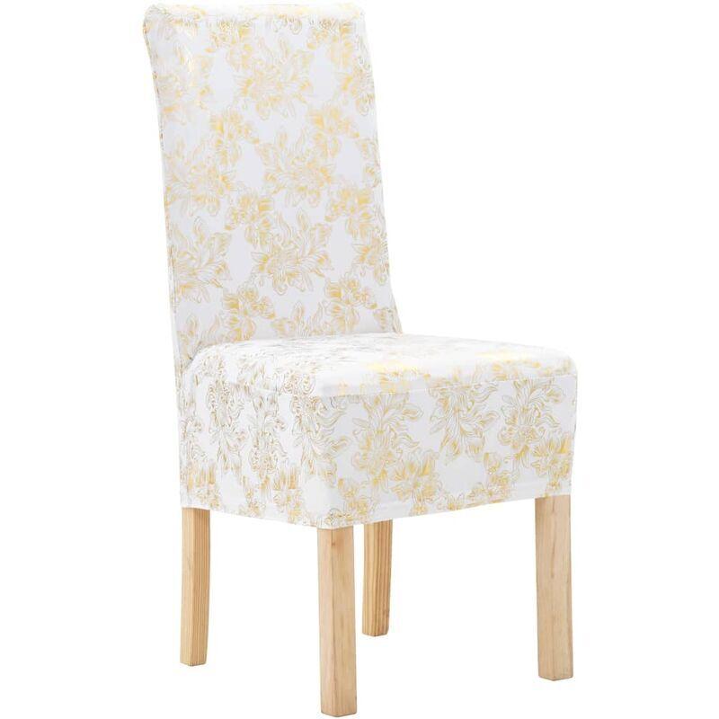VIDAXL Housses Extensibles de Chaise 4 pcs Blanc avec Imprimé Doré