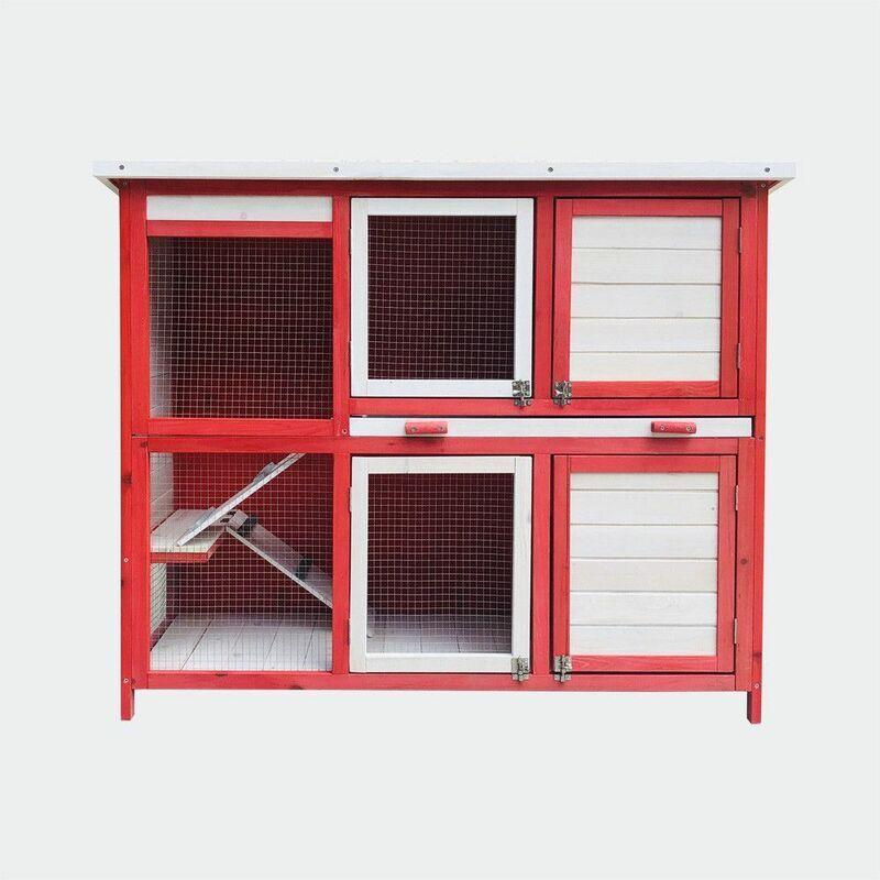MERCATOXL Clapier Poulailler avec deux niveaux et escaliers, rez-de-gigogne, Rot Weiss