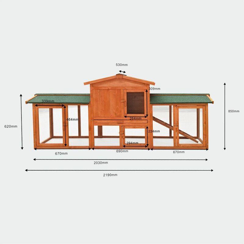 MERCATOXL Clapier Poulailler cage de lapin Hutch Hasenstall cage 219 x 53 x 85 cm de