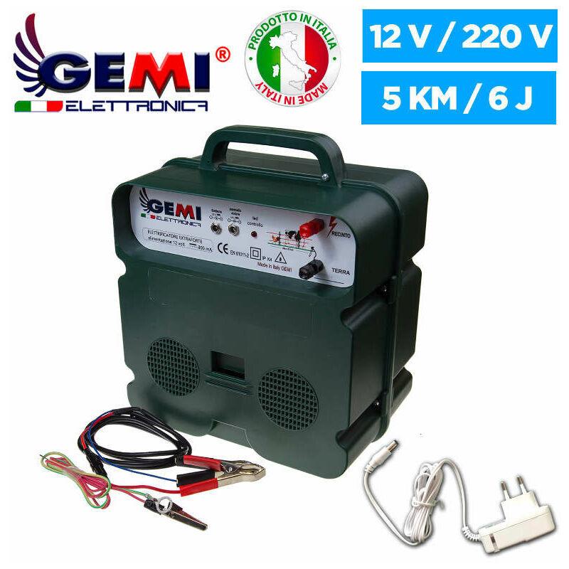 GEMI ELETTRONICA ELECTRIFICATEUR De Clôture Électrique 5 Km Double Alimentation (Batterie)12V /