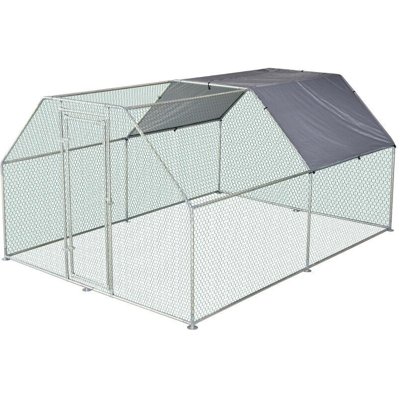Pawhut - Enclos poulailler chenil 10,64 m² - parc grillagé dim. 3,8L x 2,8l x