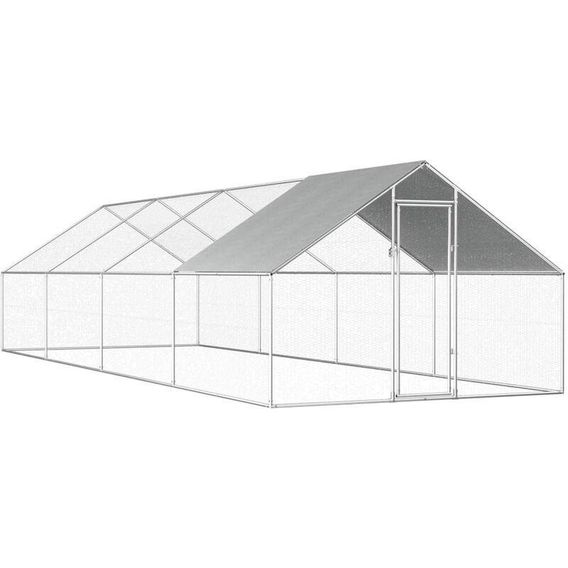 ASUPERMALL Poulailler d'exterieur 2,75 x 8 x 2 m Acier galvanise