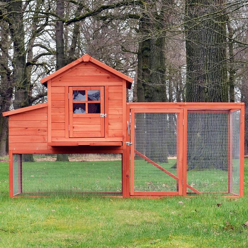 Mercatoxl - Poulailler en Bois pour Poule Lapin Petits Animaux 198,5 x 120 x 79