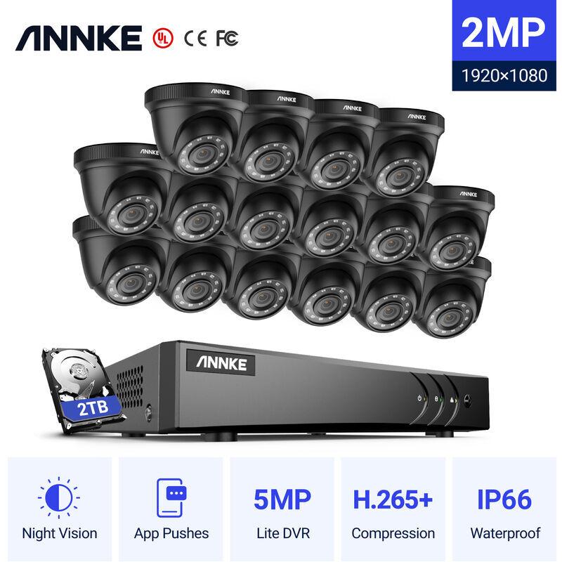 ANNKE 16CH 1080P Lite système de vidéosurveillance 16 pièces 2.0MP caméras dôme de