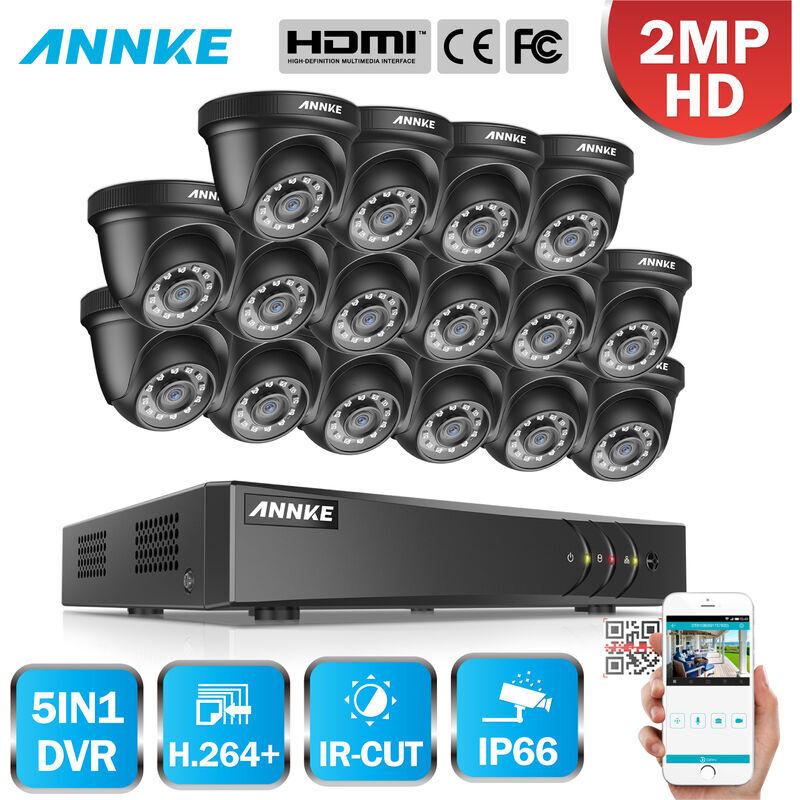 ANNKE 16CH 1080P Lite système de vidéosurveillance 16pcs 2.0MP caméras dôme de