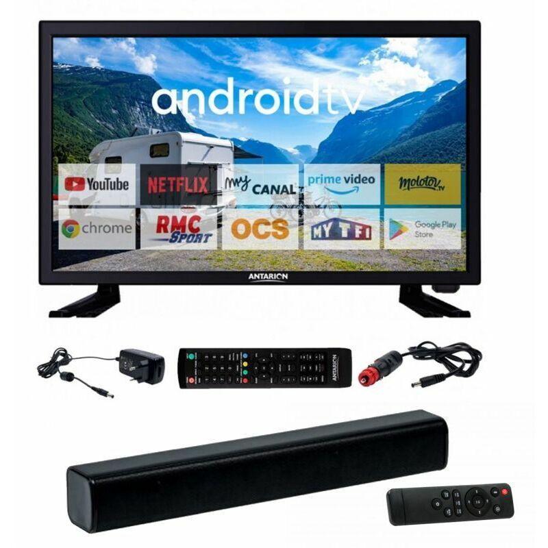 ANTARION PACK ANTARION TV LED 22 55cm Smart TV Camping 12V + Barre de Son Compacte - Noir