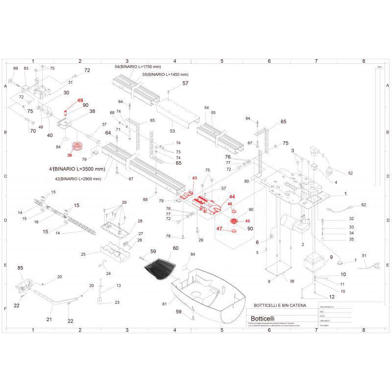 BFT I200065-10001 Kit Poulie Tendeur De Chaine Pour Botticelli - Bft