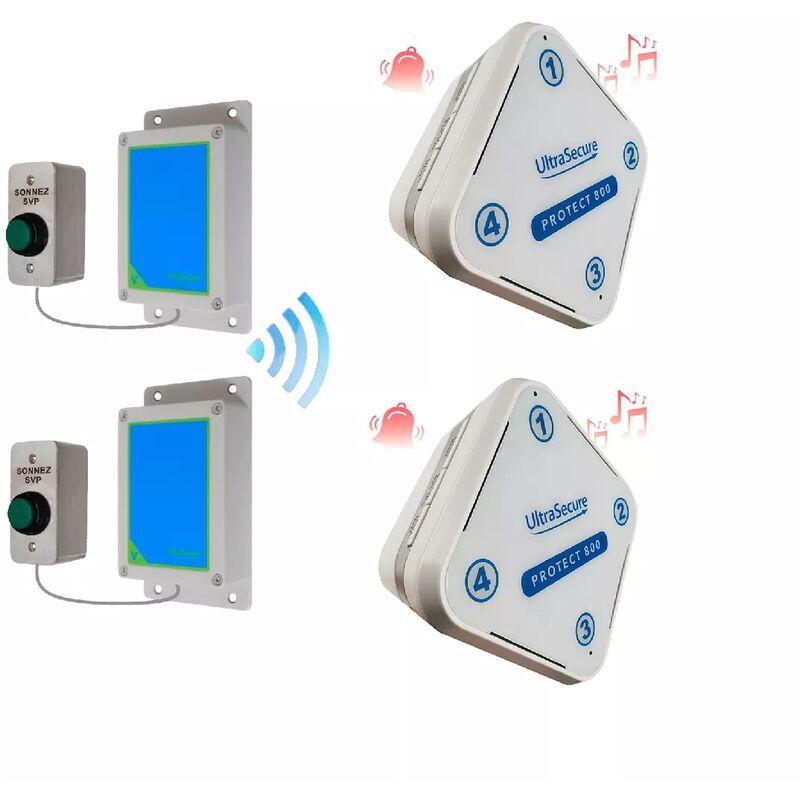 ULTRA SECURE Kit sonnette deluxe IP65 haute-résistance sans-fil 800m - 2 boutons autonomes &