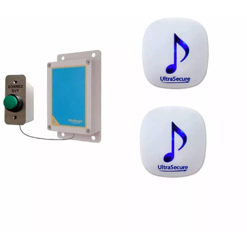 ULTRA SECURE Kit sonnette sans-fil 600m double carillon 35 mélodies (DA-600) bouton autonome