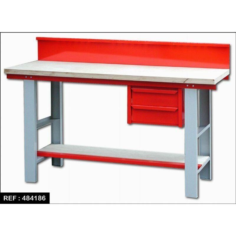 OUTIFRANCE Etabli meca bois/metal 1,5m+tiro1,5x0,6xh-0,82-2tiro