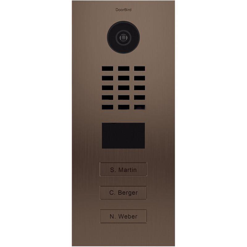 DOORBIRD Portier vidéo IP multi-utilisateurs - 3 sonnettes - Doorbird D2103BV Bronze