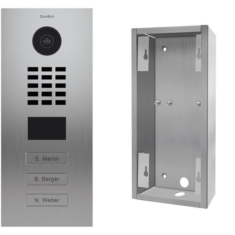 DOORBIRD Portier vidéo IP 3 sonnettes + Support - KIT D2103V + SUP-D2102V-D2103V Inox