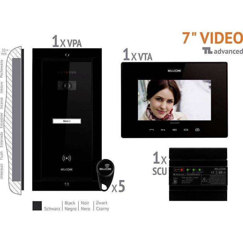 BELLCOME Interphone vidéo Bellcome VKA.P1FR.T7S9.BLB04 filaire Set complet 1 foyer noir