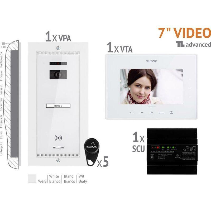 BELLCOME Interphone vidéo Bellcome VKA.P1FR.T7S9.BLW04 filaire Set complet 1 foyer blanc