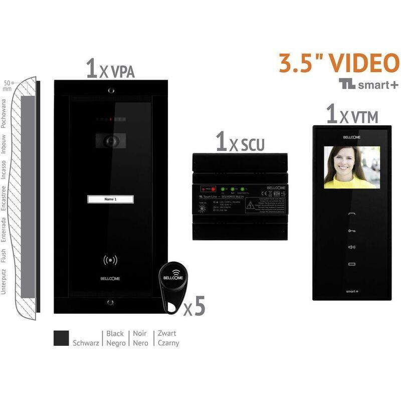BELLCOME Interphone vidéo Bellcome VKM.P1FR.T3S4.BLB04 filaire Set complet 1 foyer noir