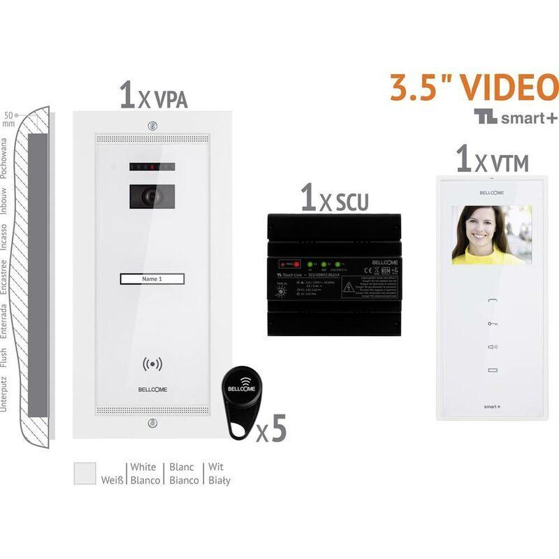 BELLCOME Interphone vidéo Bellcome VKM.P1FR.T3S4.BLW04 filaire Set complet 1 foyer blanc