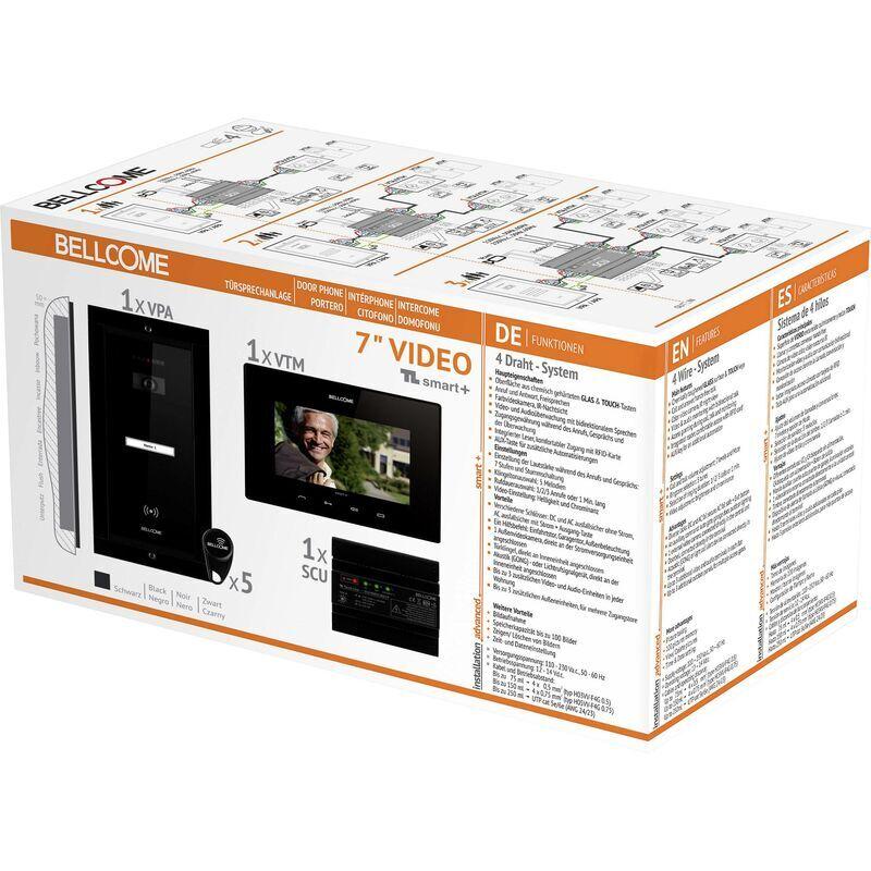 BELLCOME Interphone vidéo Bellcome VKM.P1FR.T7S4.BLB04 filaire Set complet 1 foyer noir