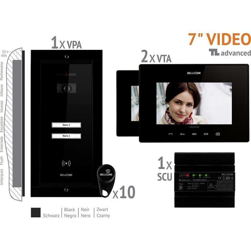 BELLCOME Interphone vidéo Bellcome VKA.P2FR.T7S9.BLB04 filaire Set complet 2 foyers noir
