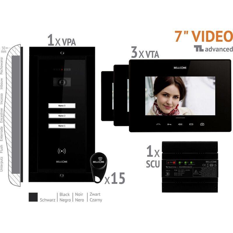 BELLCOME Interphone vidéo Bellcome VKA.P3FR.T7S9.BLB04 filaire Set complet 3 foyers noir
