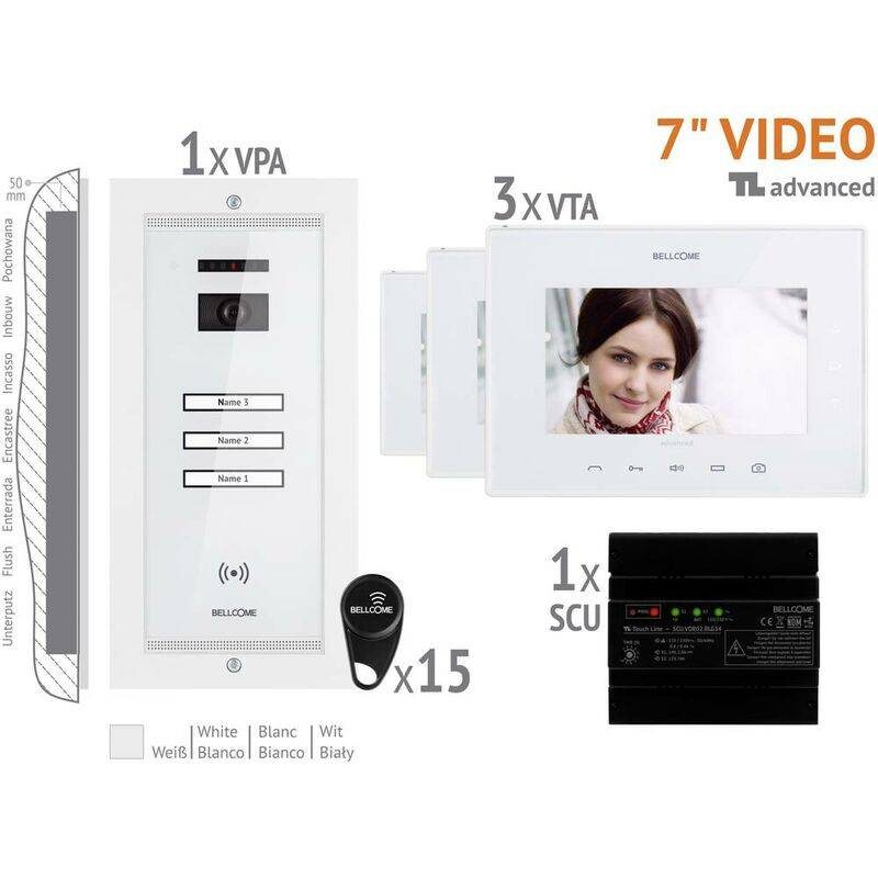 BELLCOME Interphone vidéo Bellcome VKA.P3FR.T7S9.BLW04 filaire Set complet 3 foyers