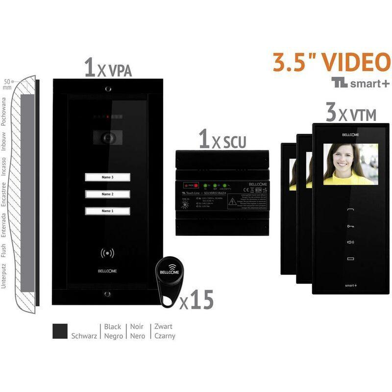BELLCOME Interphone vidéo Bellcome VKM.P3FR.T3S4.BLB04 filaire Set complet 3 foyers noir