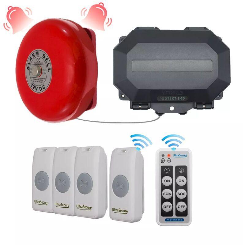 ULTRA SECURE Sonnette 4 entrées extérieure cloche industrielle sans-fil 800m - Durée
