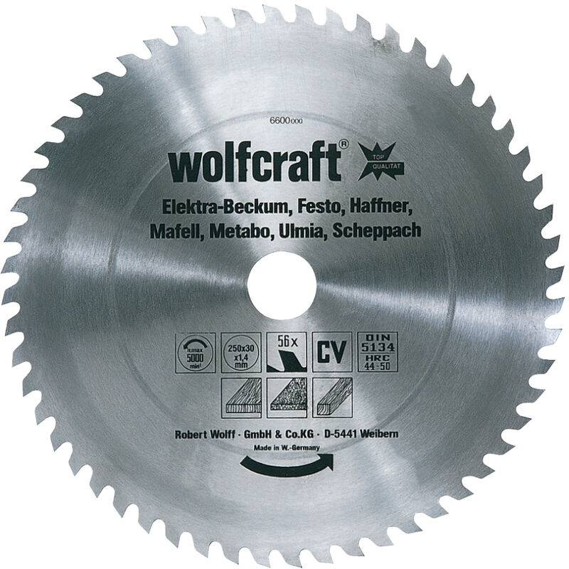 WOLFCRAFT Lame de Scie Circulaire CV 56 Dents, Ø 350 x 30 x 1,8 - wolfcraft 6606000