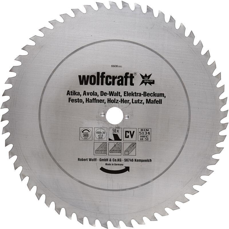 WOLFCRAFT Lame de Scie Circulaire CV 56 Dents, Ø 400 x 30 x 2,0 - wolfcraft 6608000