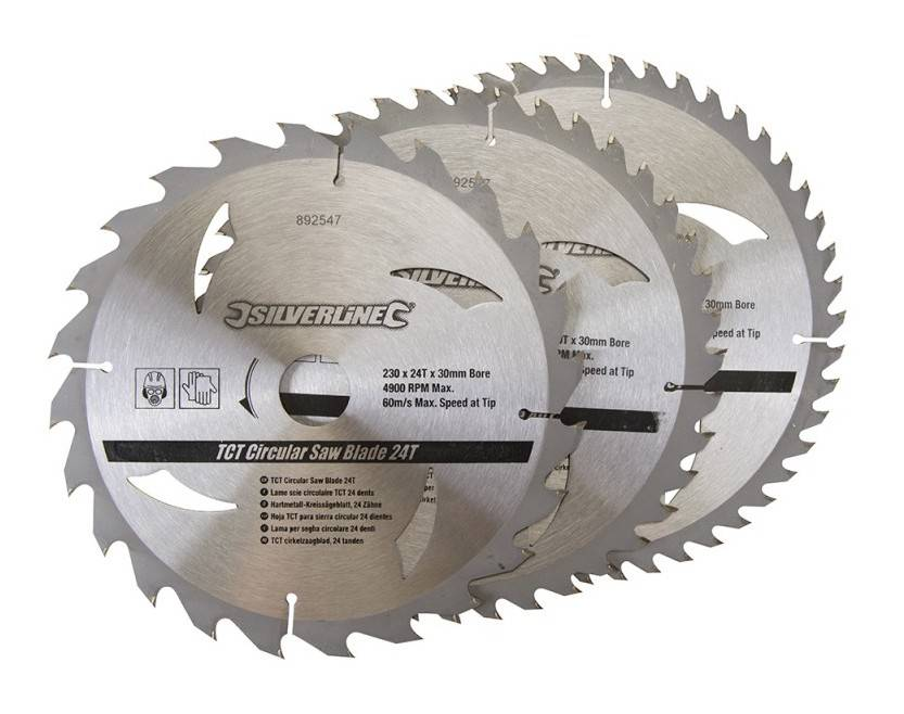 Silverline - 3 lames scie circulaire TCT 24, 40, 48 dents - 230 x 30 - bagues