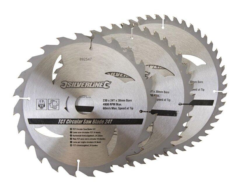 SILVERLINE 3 lames scie circulaire TCT 24, 40, 48 dents - 230 x 30 - bagues de 25, 20 et