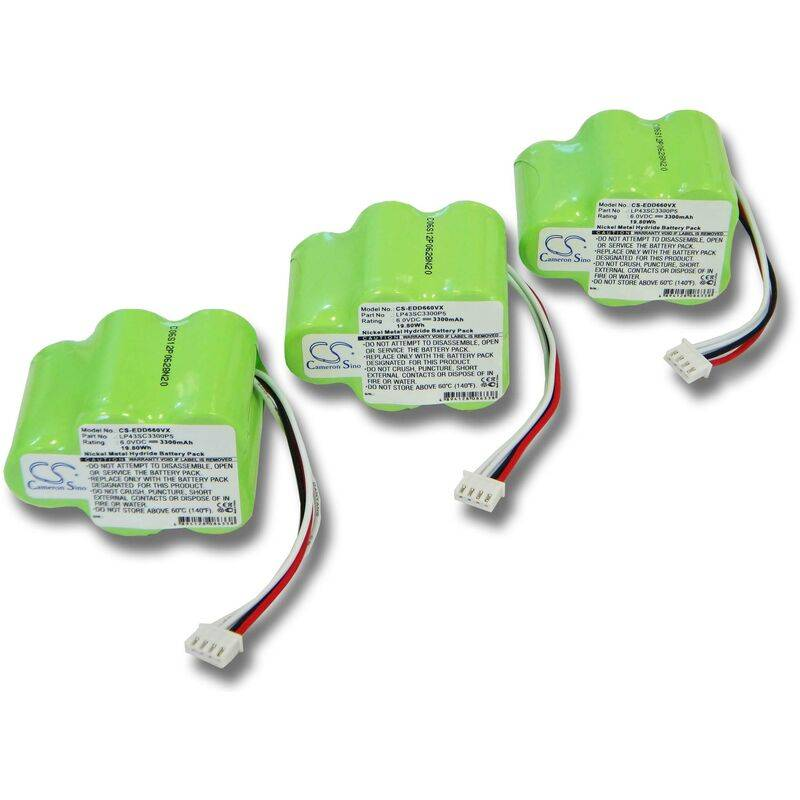 VHBW 3x Ni-MH Batterie pour aspirateur Ecovacs Deebot D650, D66, D660, D68, D680.