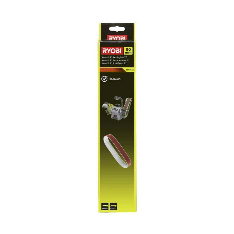 RYOBI 5 bandes abrasives RYOBI 50x686mm pour touret à meuler - grain 80 BSS50A5