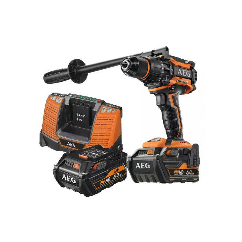 A.e.g - Perceuse percussion Brushless AEG 18V - 2 batteries 6.0Ah - un chargeur