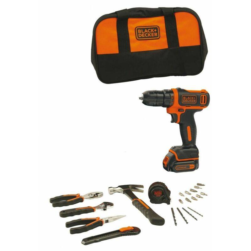 BLACK & DECKER Black&decker; - Perceuse Visseuse sans fil 10.8V Batterie lithium 1.5Ah Black +