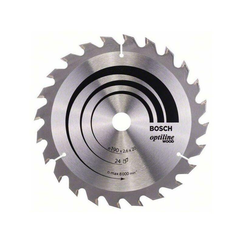 Bosch Lame de scie circulaire Optiline Wood, 190 x 20/16 x 2,6 mm, 24 dents